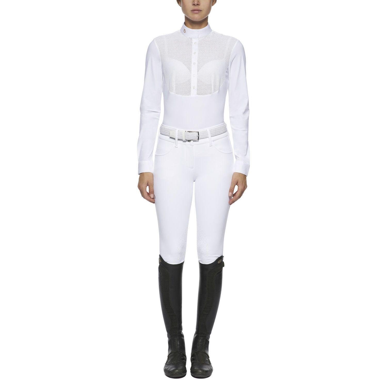 Camicia donna a maniche lunghe con pettorina a rete