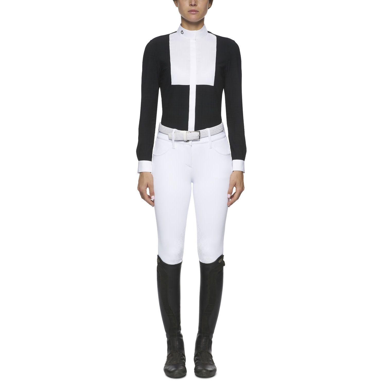 Women's embossed stripe long-sleeved shirt