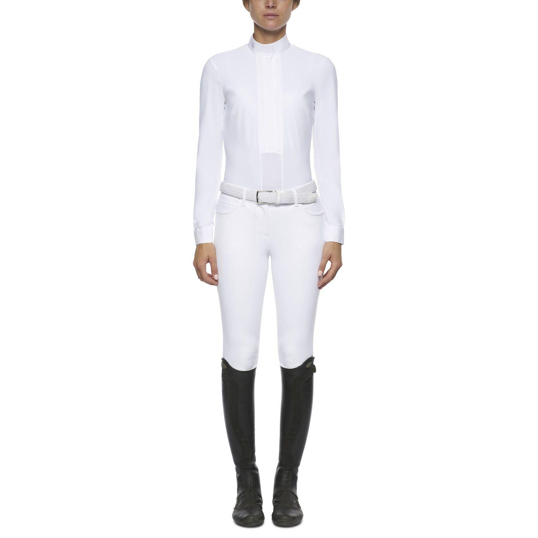 Camicia donna a maniche lunghe plissettata