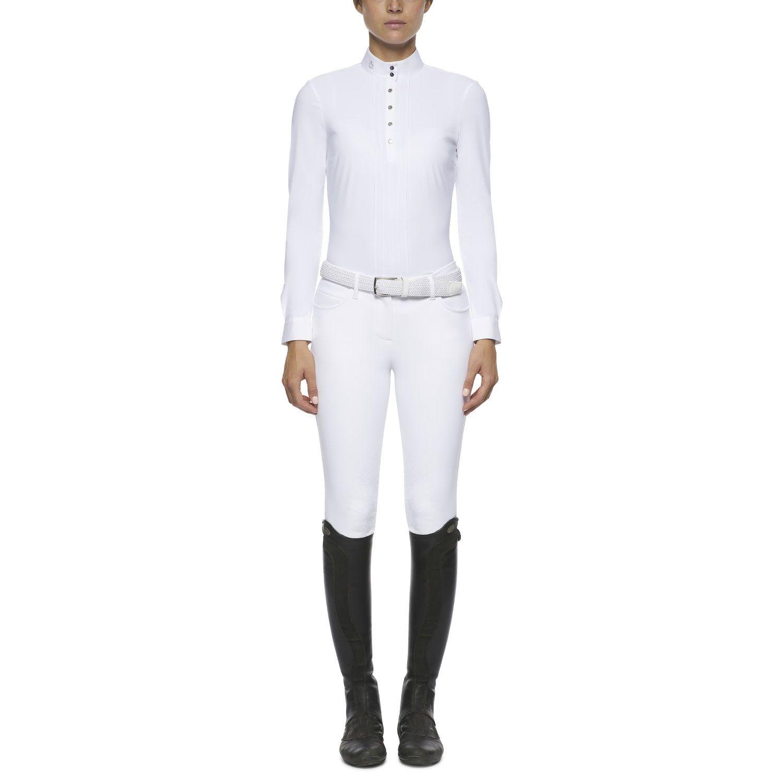 Camicia donna da concorso plissettata a maniche lunghe