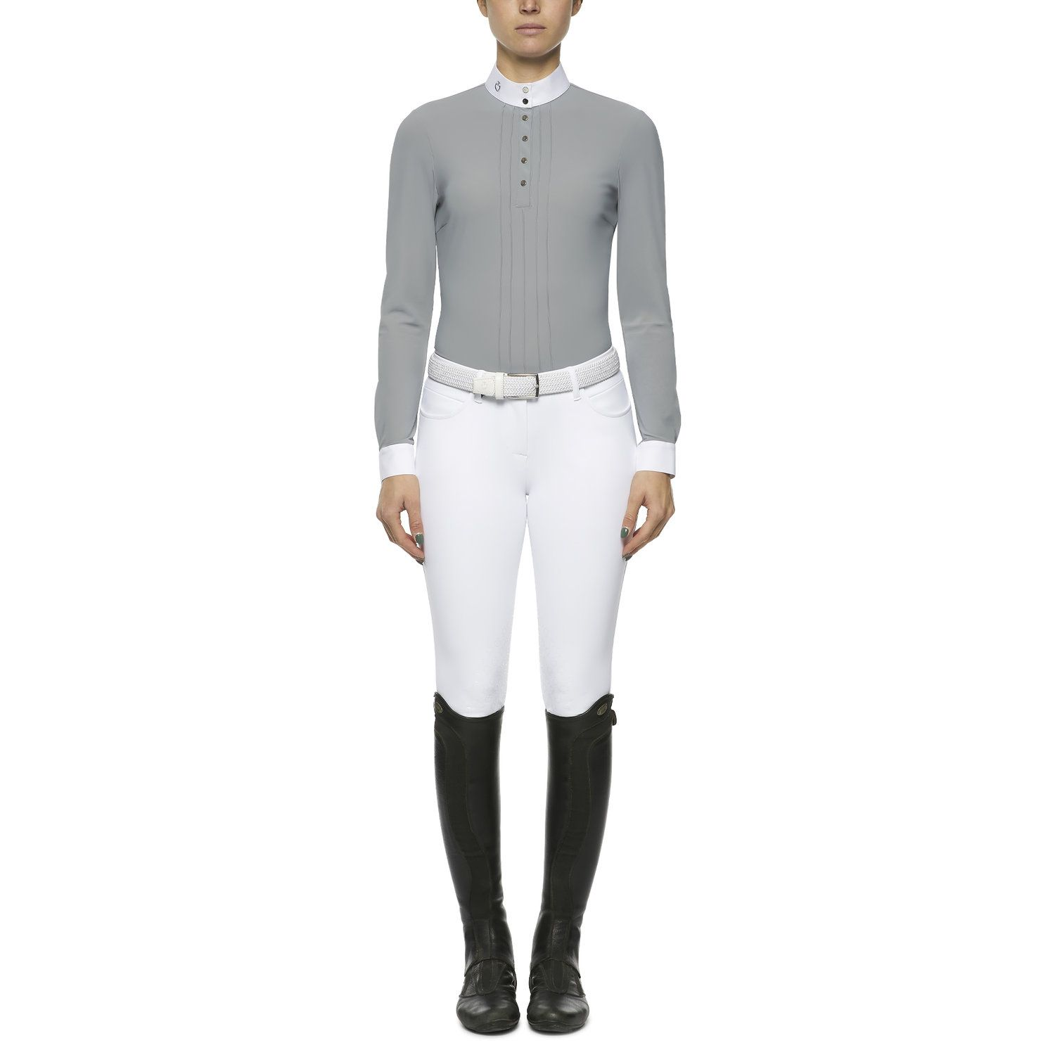 Pleated long-sleeved competition polo shirt