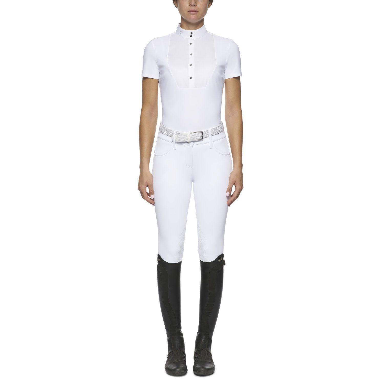 Camicia donna a maniche corte con pettorina squadrata