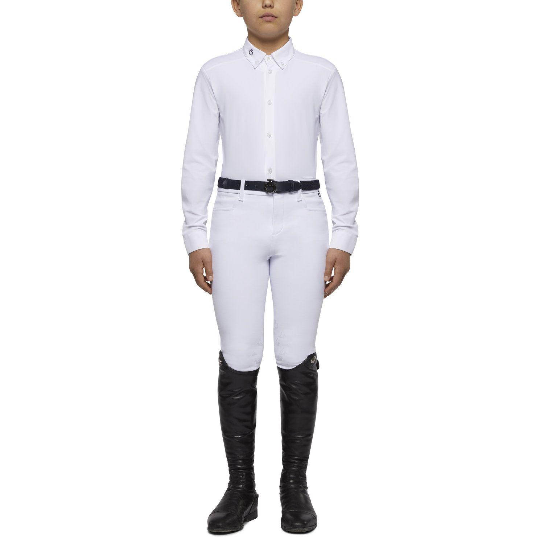 Camicia da bambino con inserto in piqué