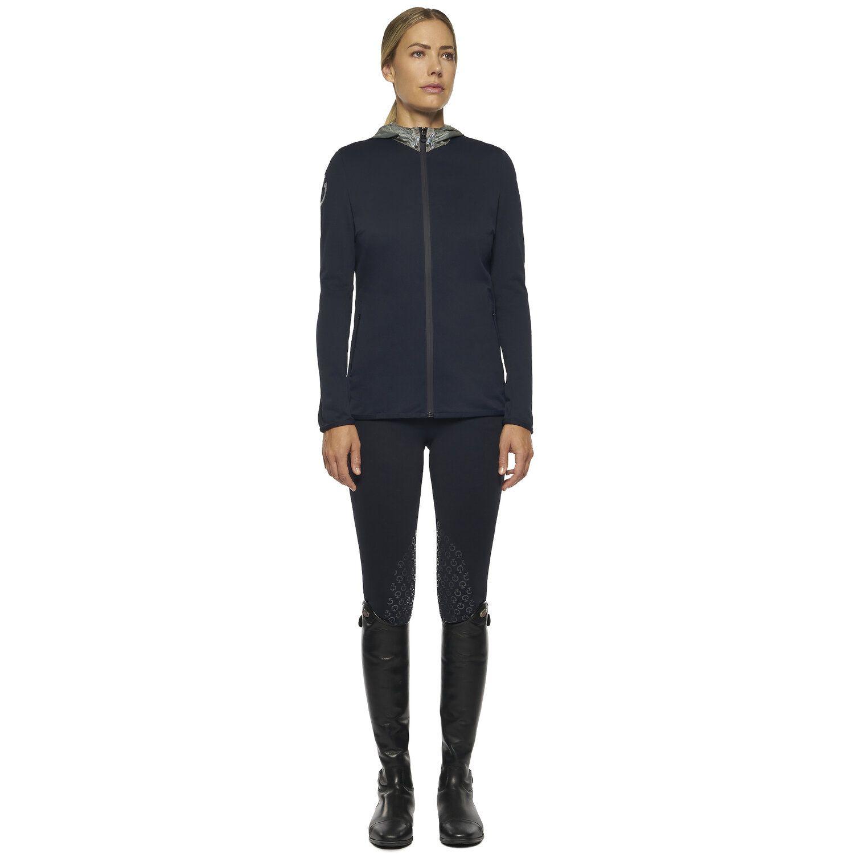 Women`s piqué sweatshirt with color contrasting nylon hood