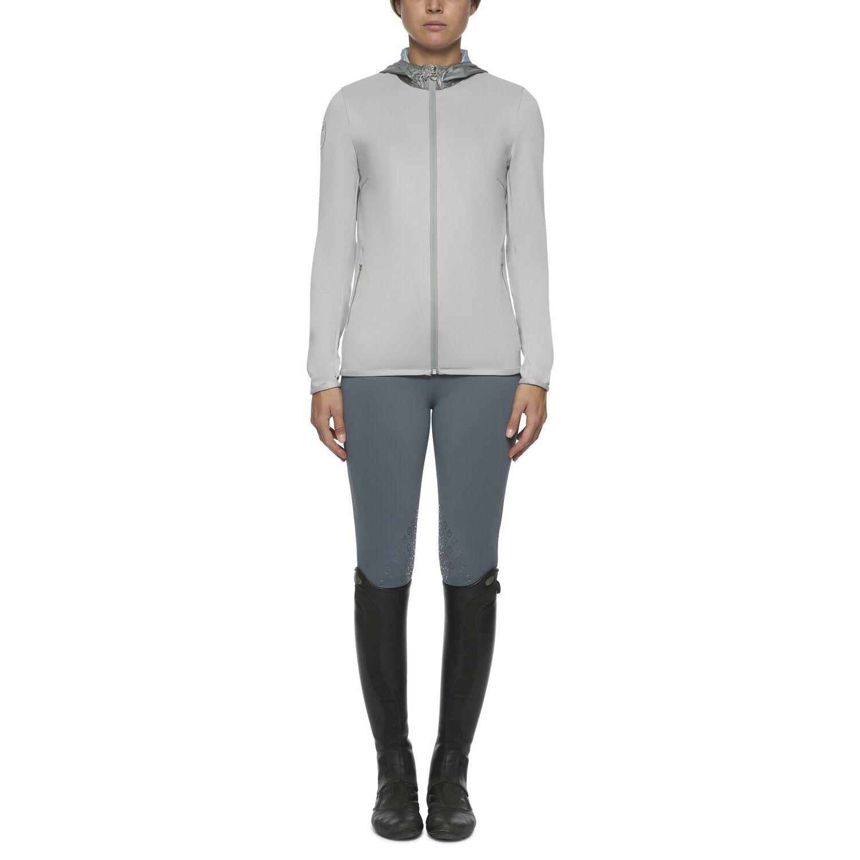 Women's piqué sweatshirt with color contrasting nylon hood