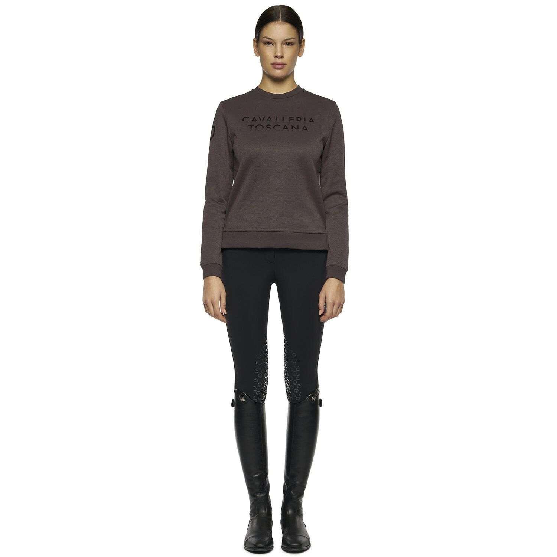 Women's crewneck sweatshirt with side slits