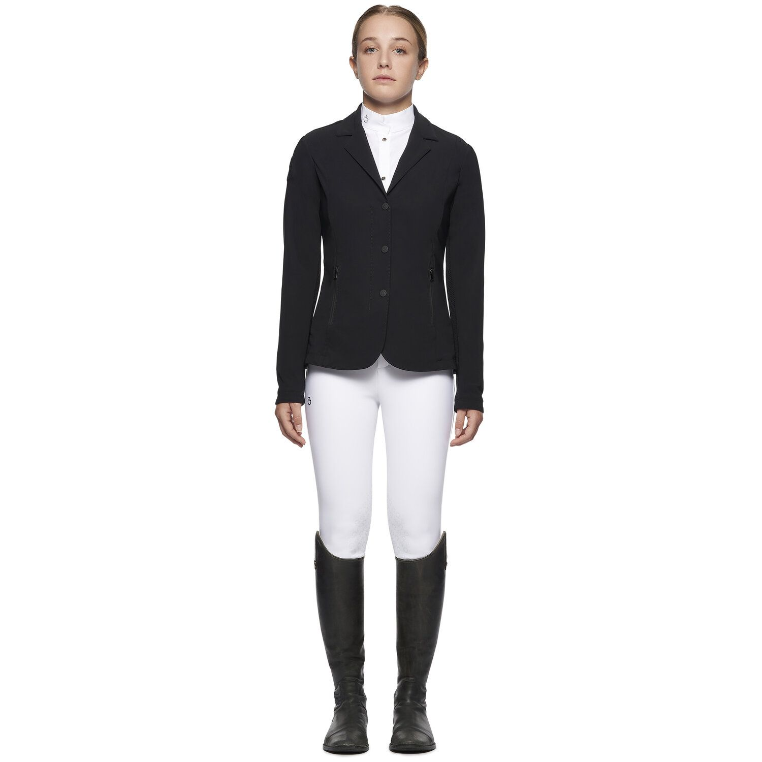 Girl's zip riding jacket with technical knit inserts