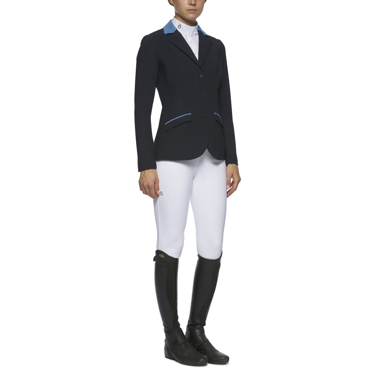 Women's zip and buttons riding jacket