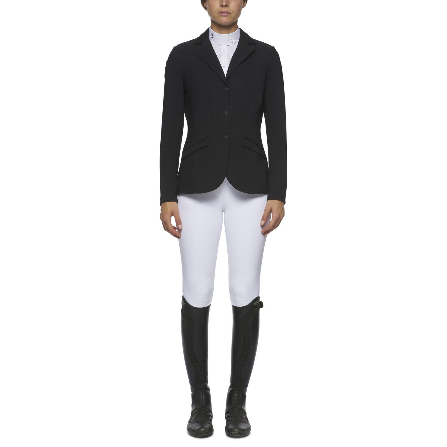 Women`s zip and buttons riding jacket