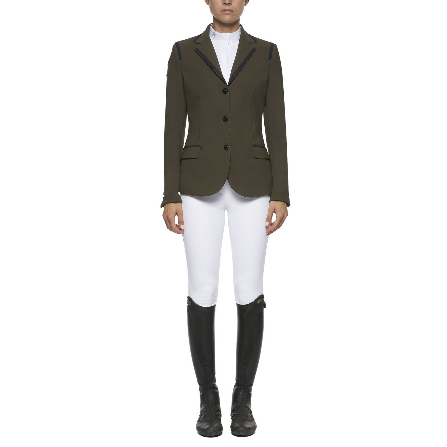 Women's competition riding jacket with piping