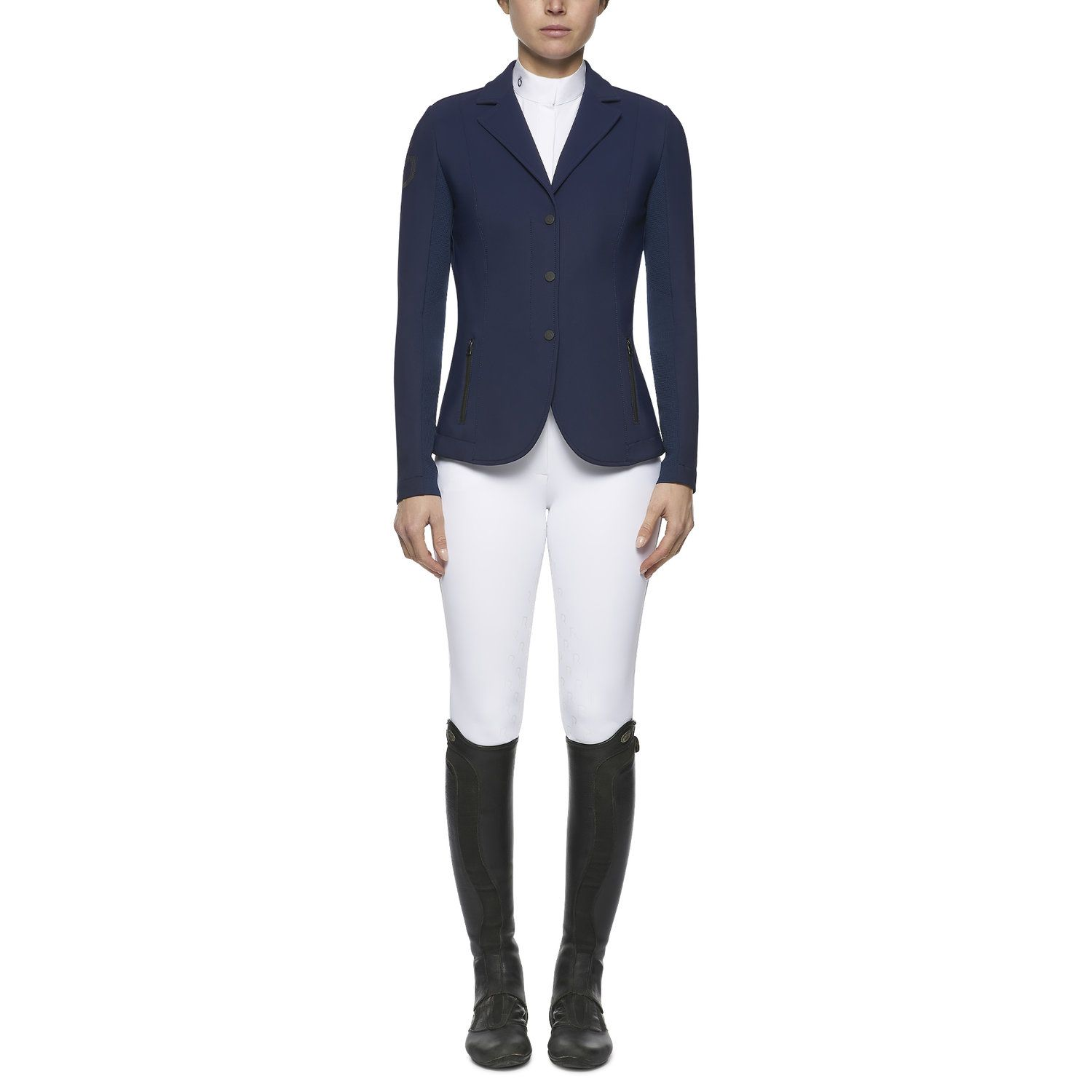 Women's zip riding jacket with technical knit inserts