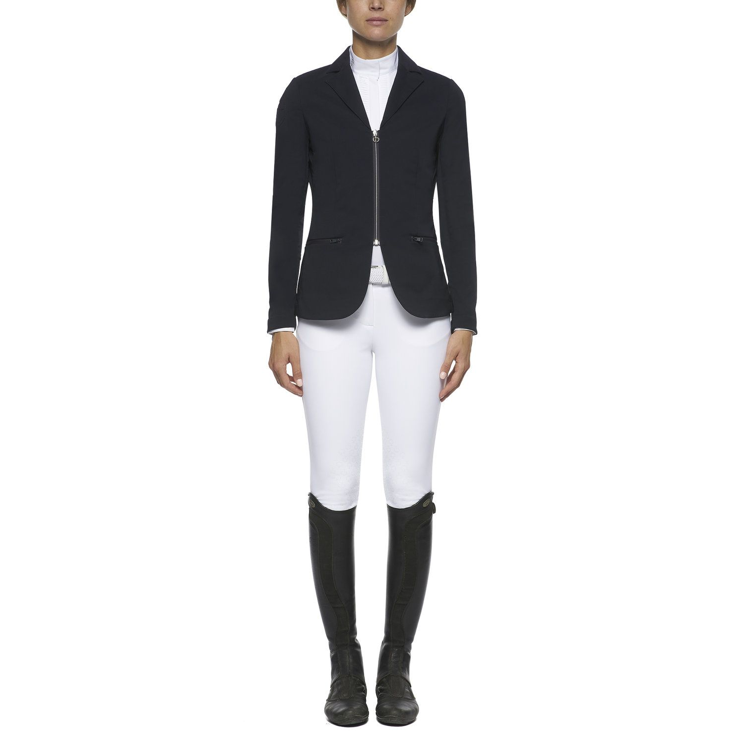 Women`s piqué zip competition riding jacket