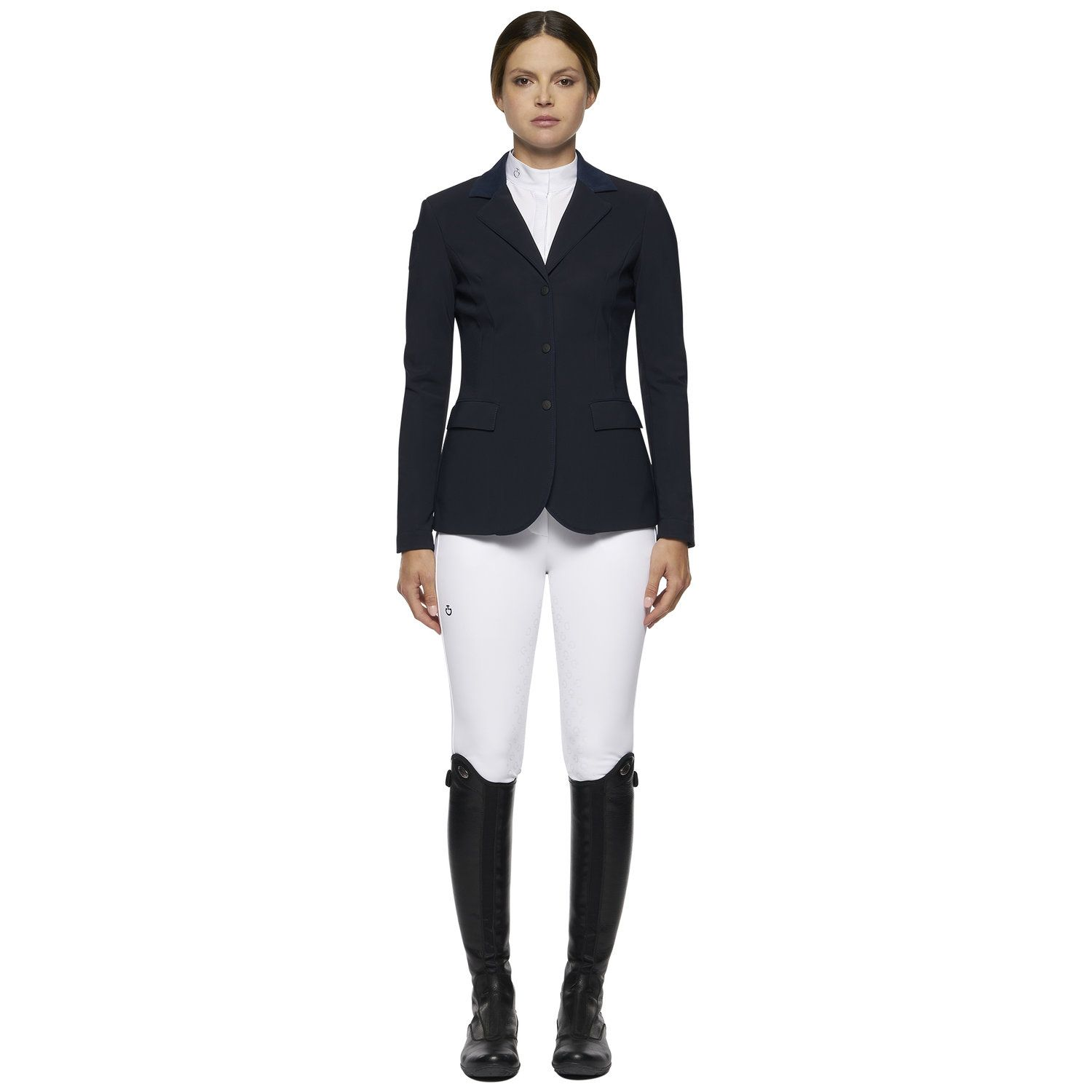 Women's zip riding jacket with perforated inserts.