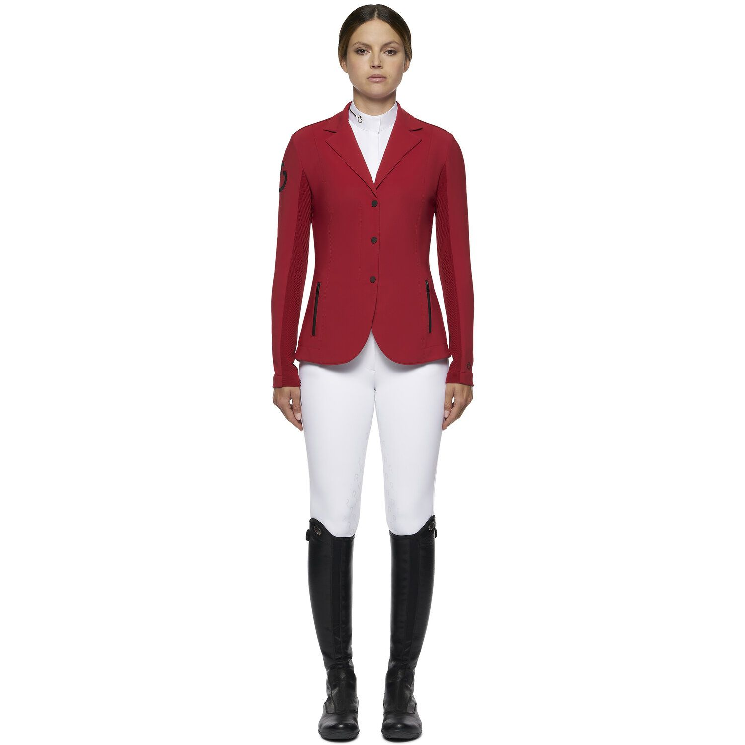 Women's REVOLUTION zip riding jacket with technical knit inserts