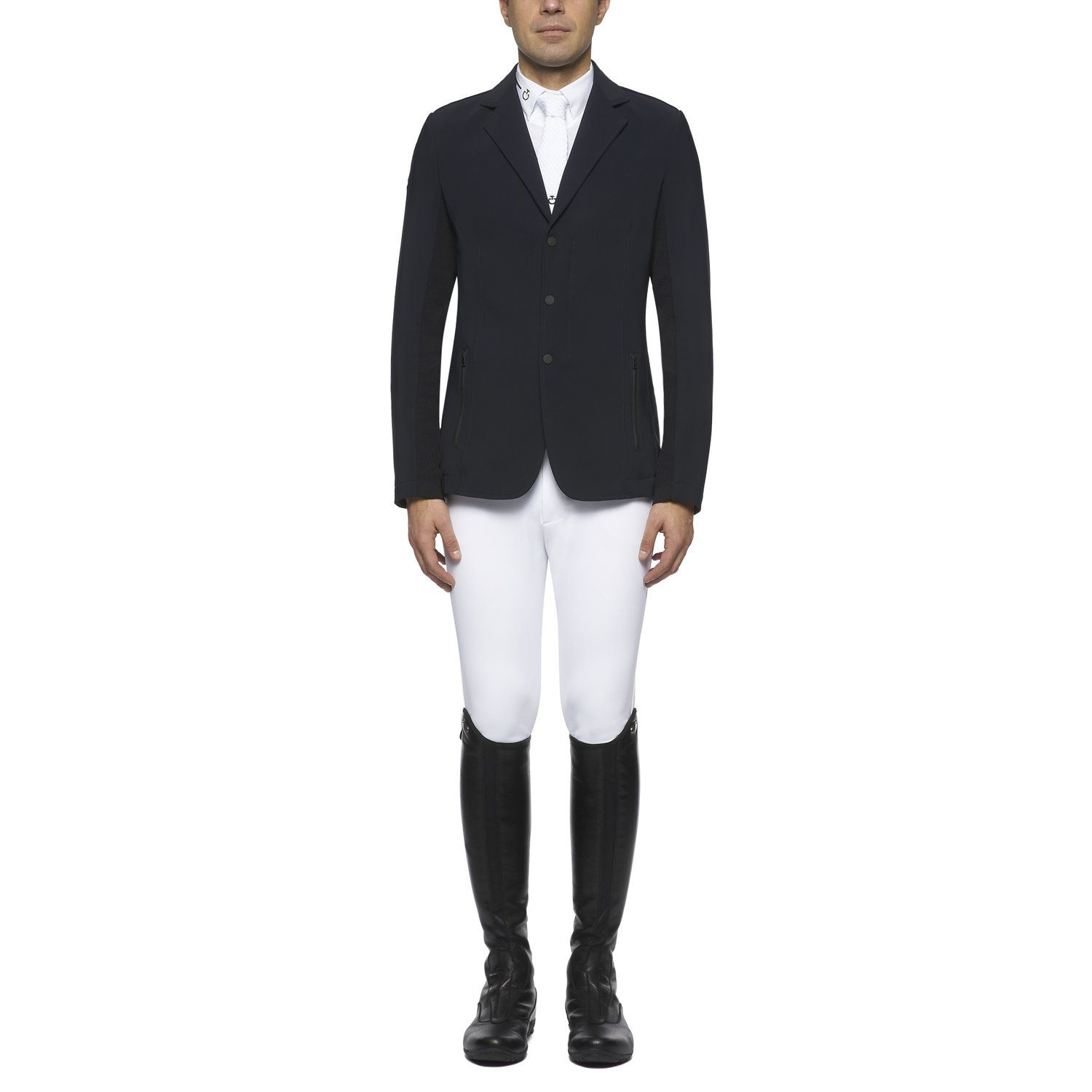 Men's zip riding jacket with technical knit inserts