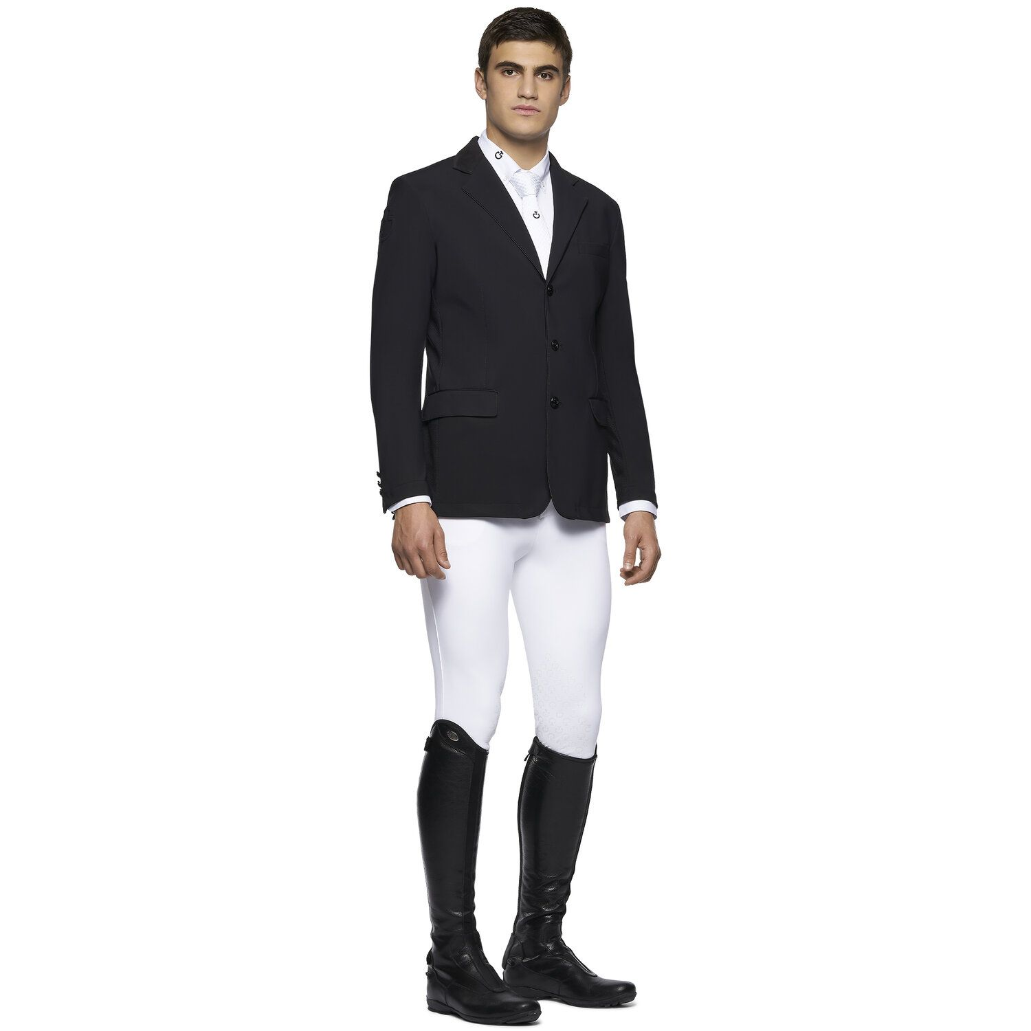 Men's riding jacket with perforated inserts