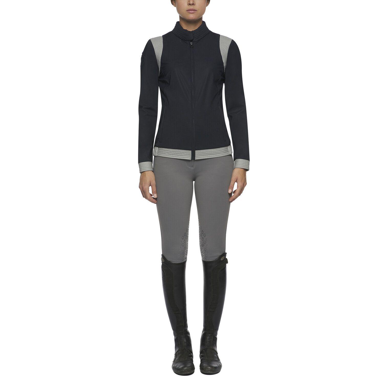 Women's jacket with topstitch row inserts