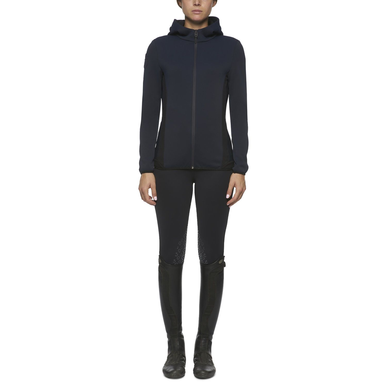 Women's hooded piqué softshell jacket