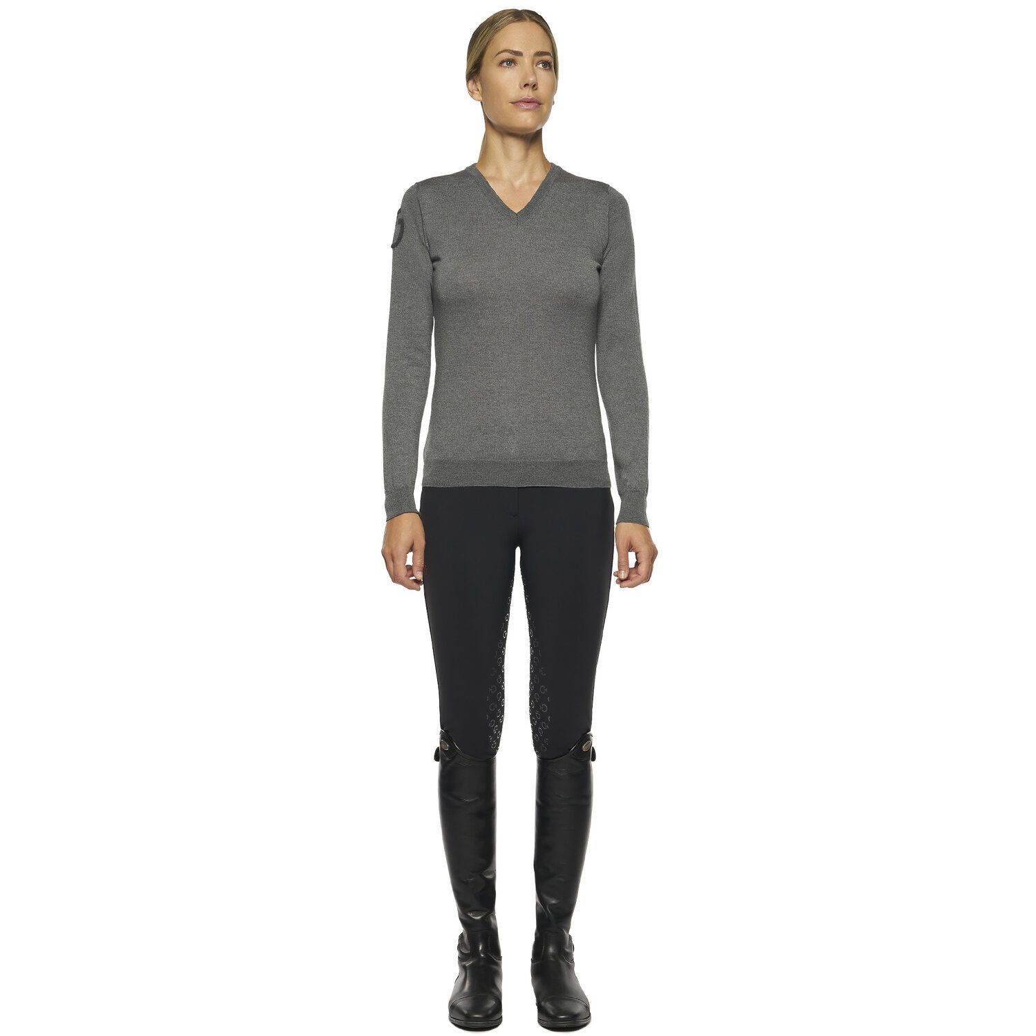 Women's Grey Sweater with V Neck