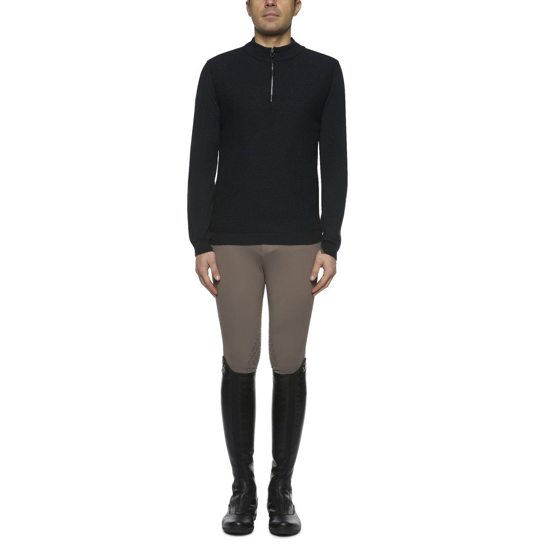 Honeycomb man's zip sweater