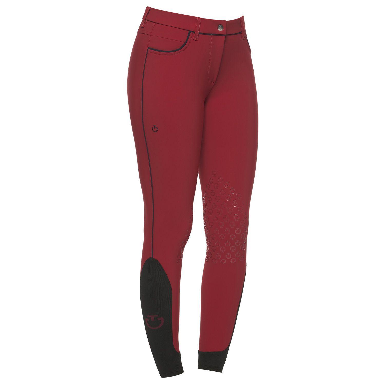 Pantaloni da equitazione donna con filetto a contrasto