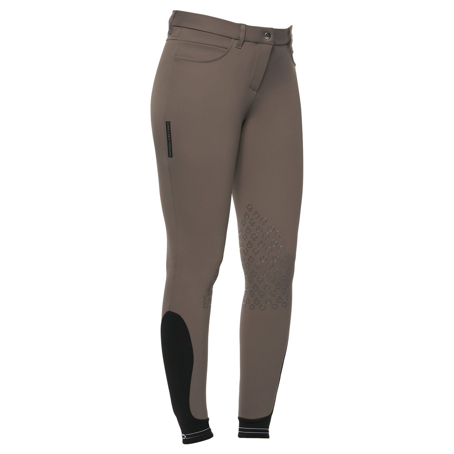 Women`s knee grip breeches with perforated logo tape