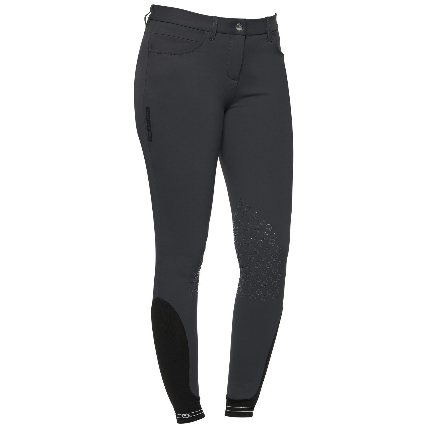 Women's knee grip breeches with perforated logo tape