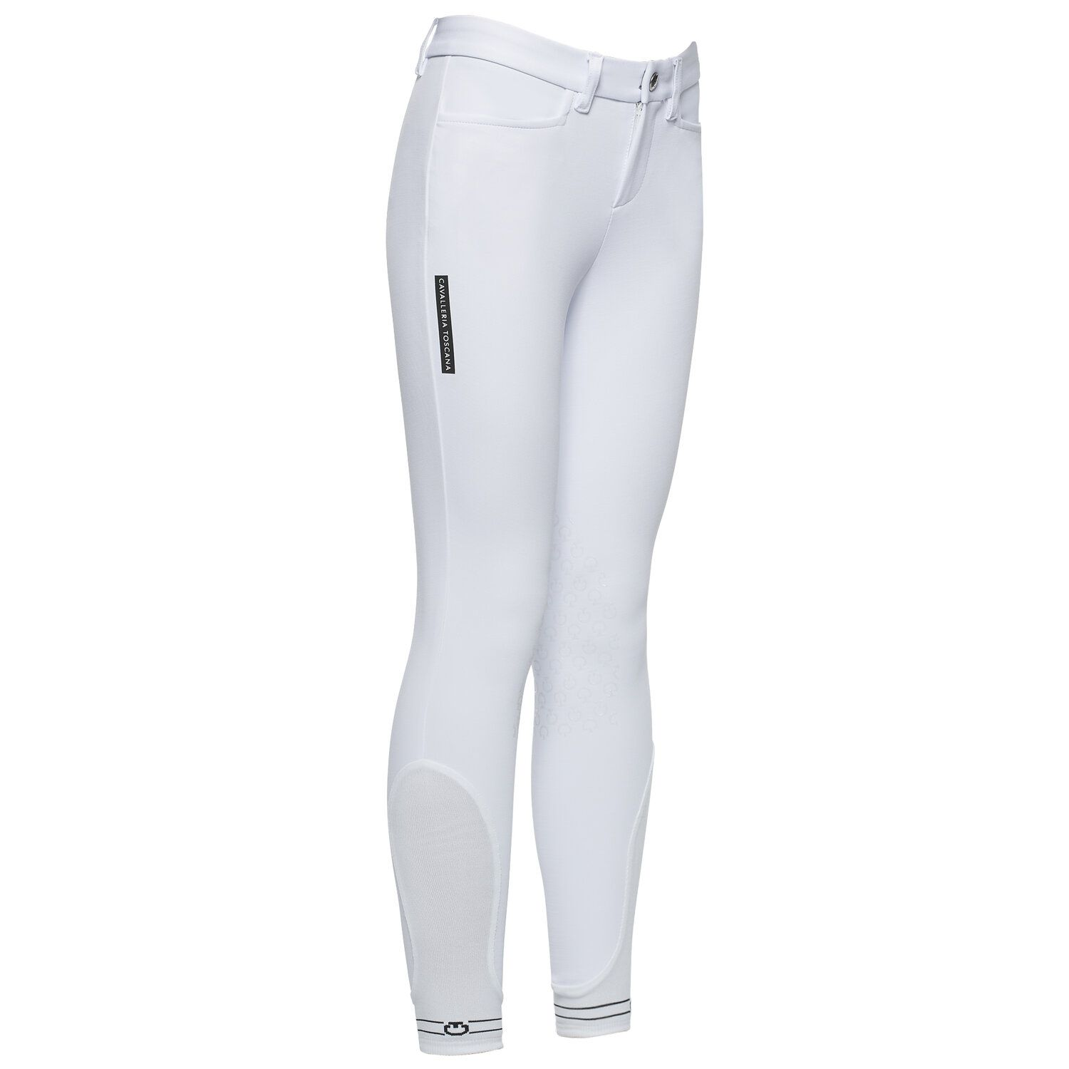 Kid's knee grip breeches with perforated logo tape