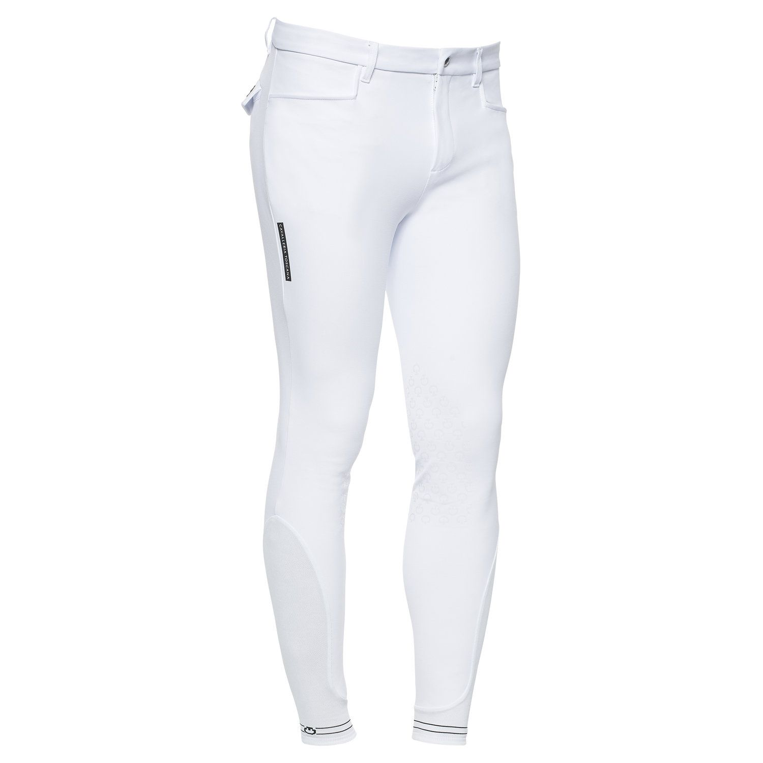 Men`s knee grip breeches with perforated logo tape