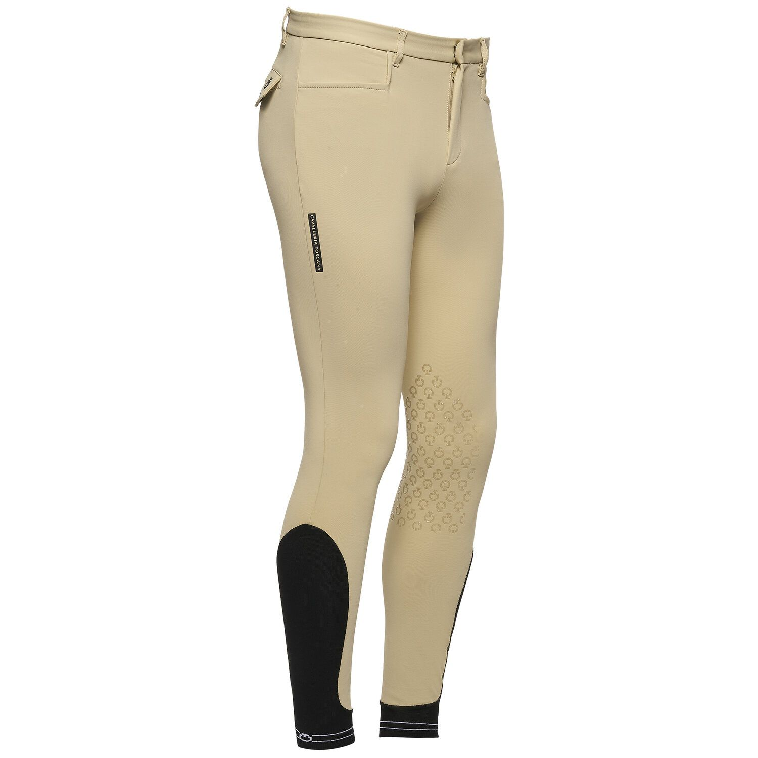 Men's knee grip breeches with perforated logo tape