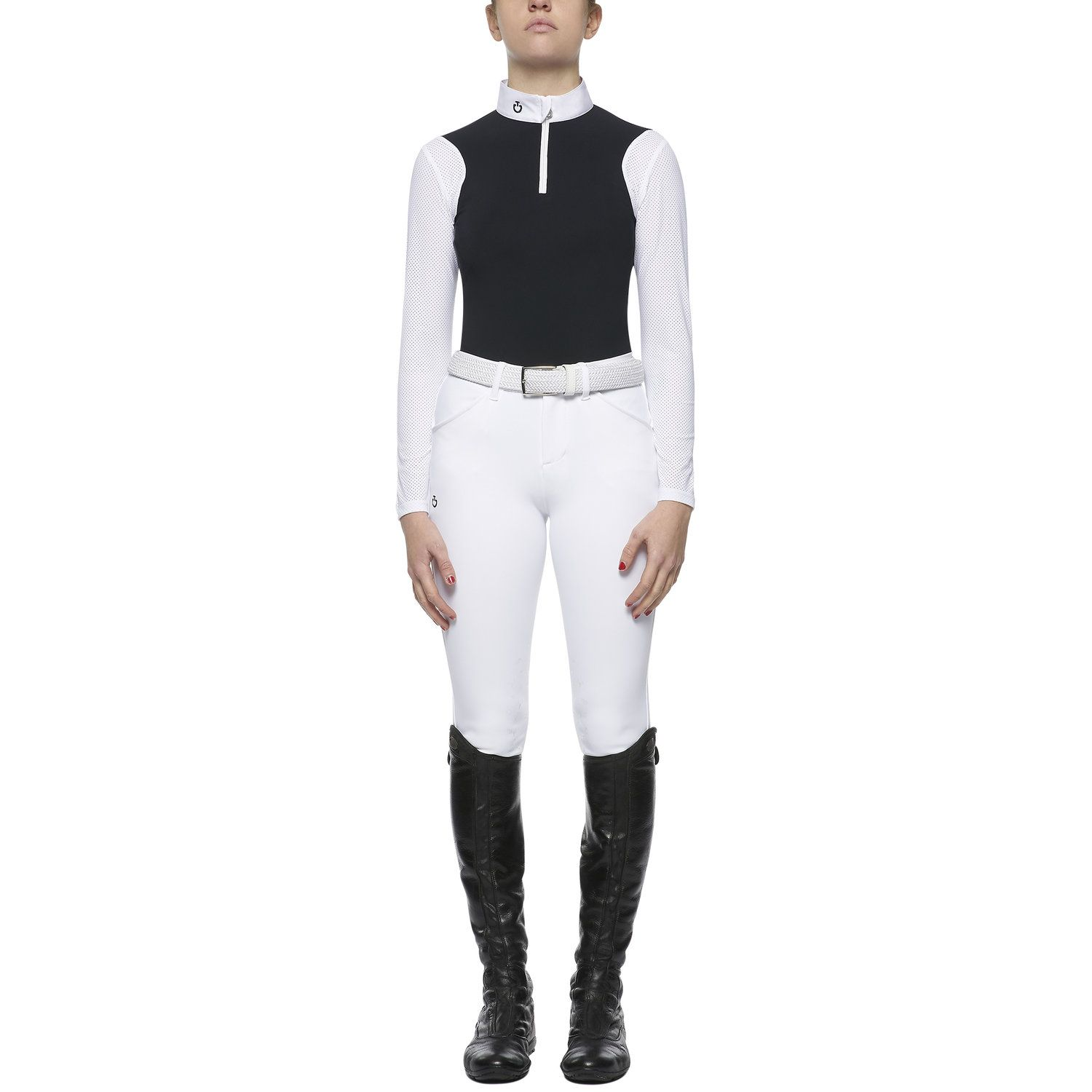 Girl's polo with perforated sleeves