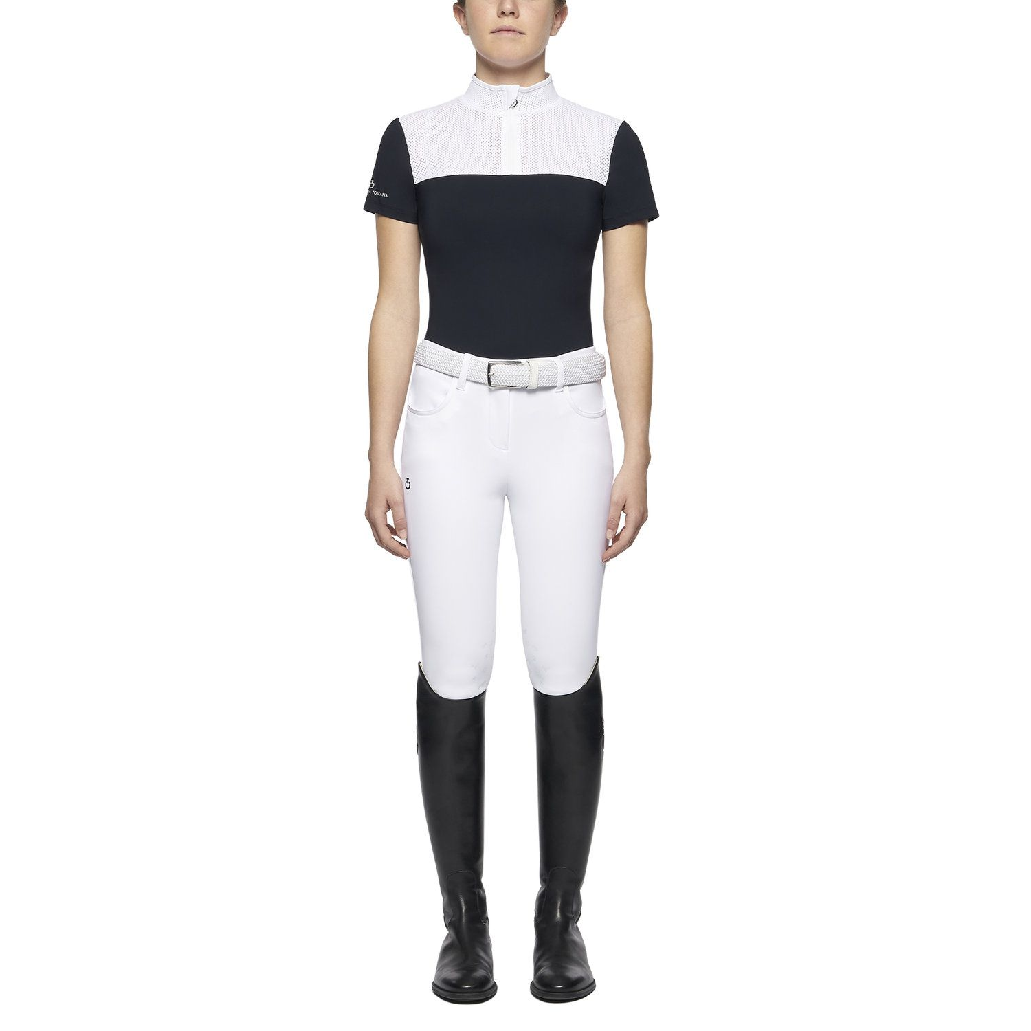 Girl's polo with perforated collar