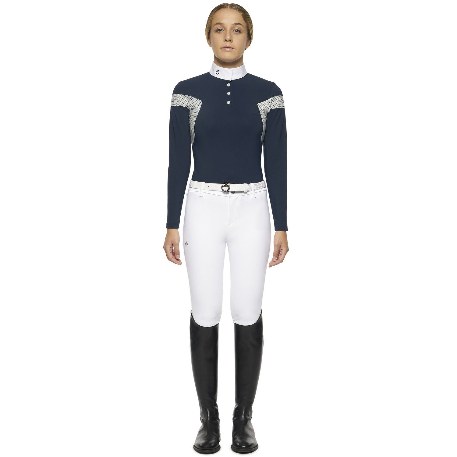 Girl`s long-sleeved polo with insert