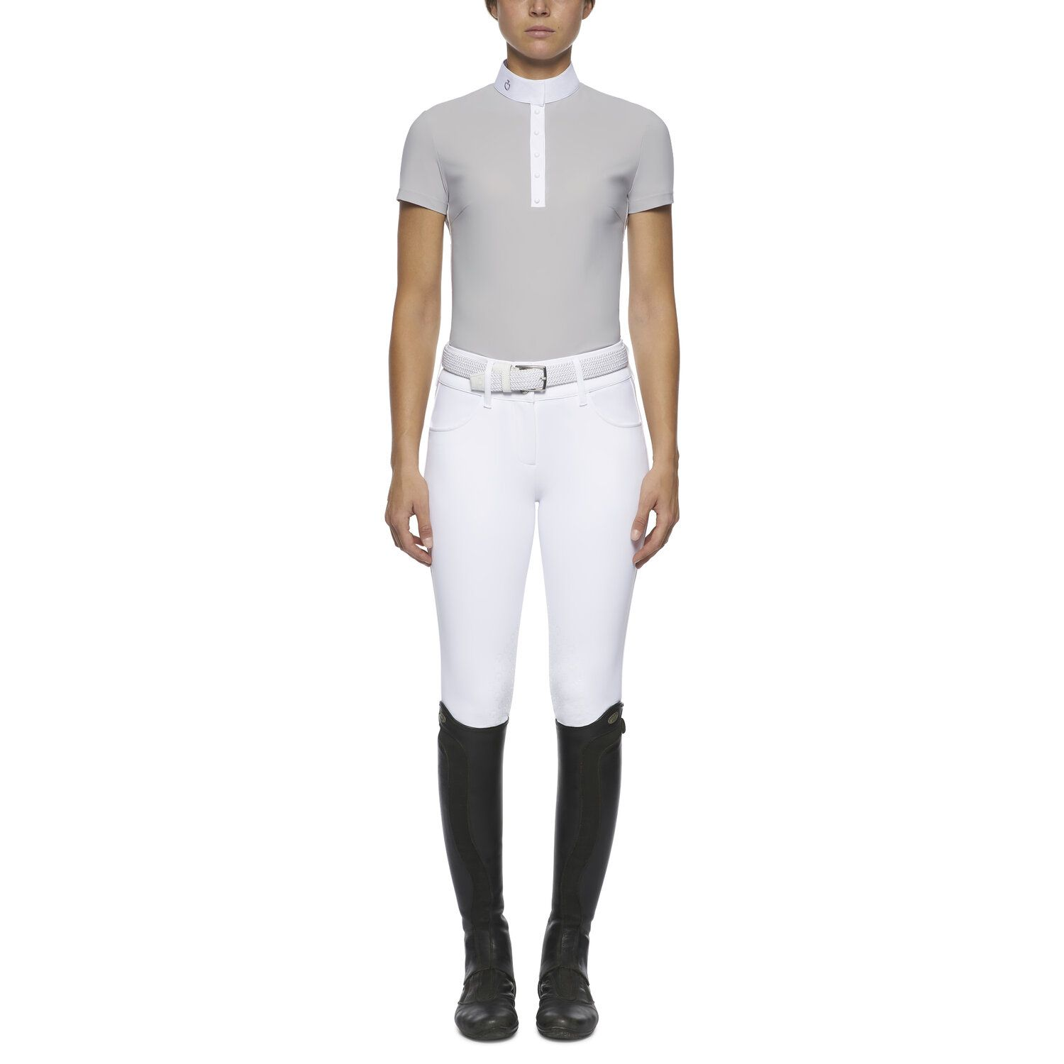 Women's short-sleeved polo with sheer inserts