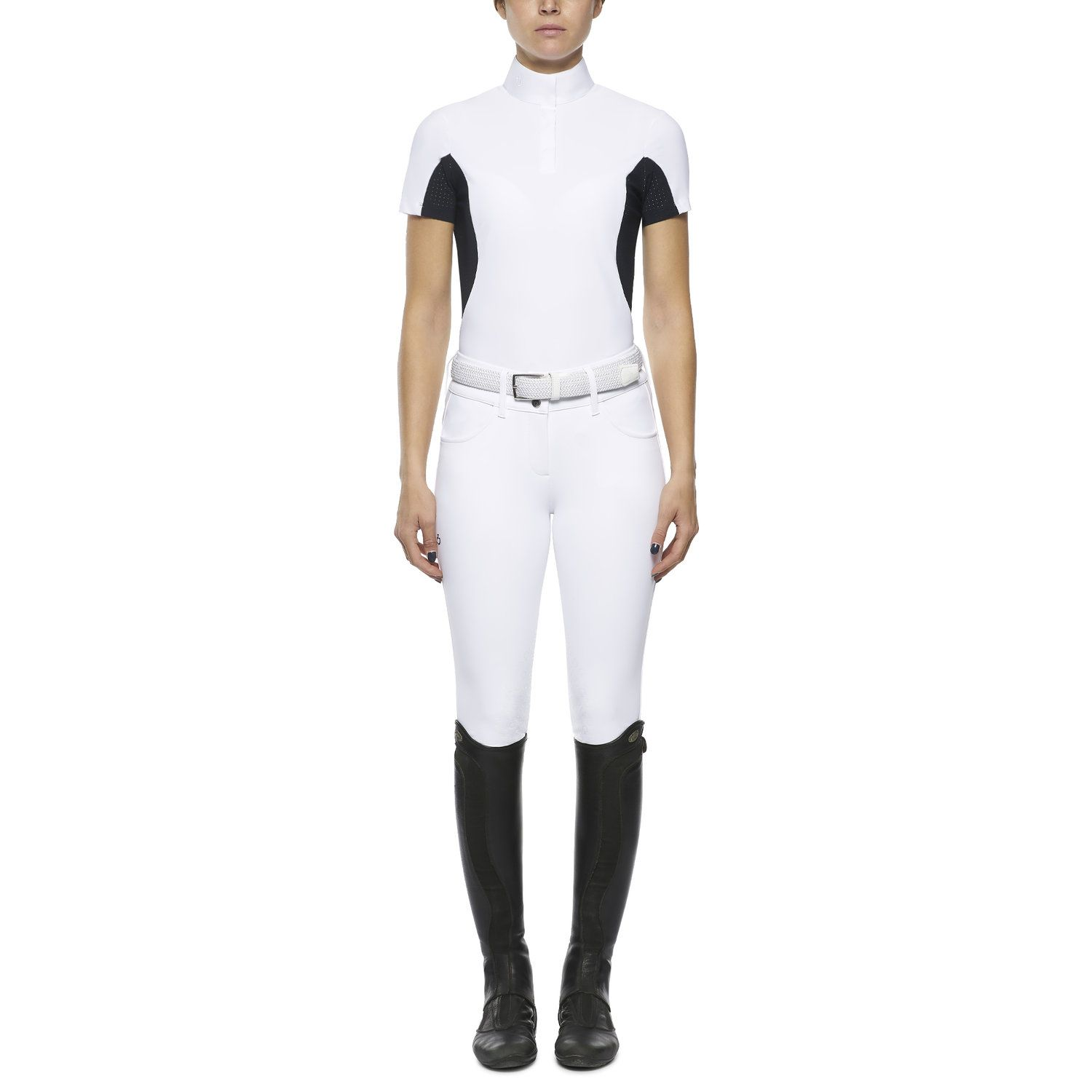 Women's polo with perforated inserts