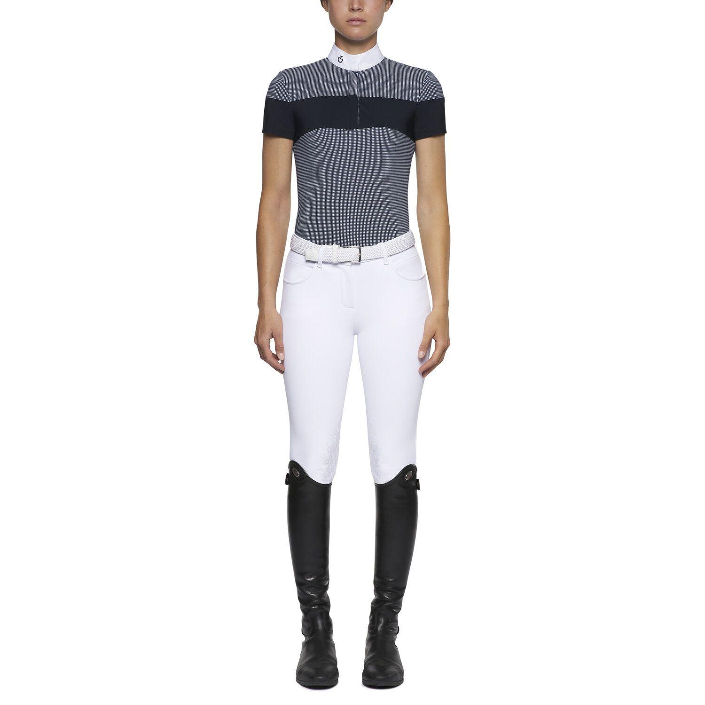 Gingham check short-sleeved polo