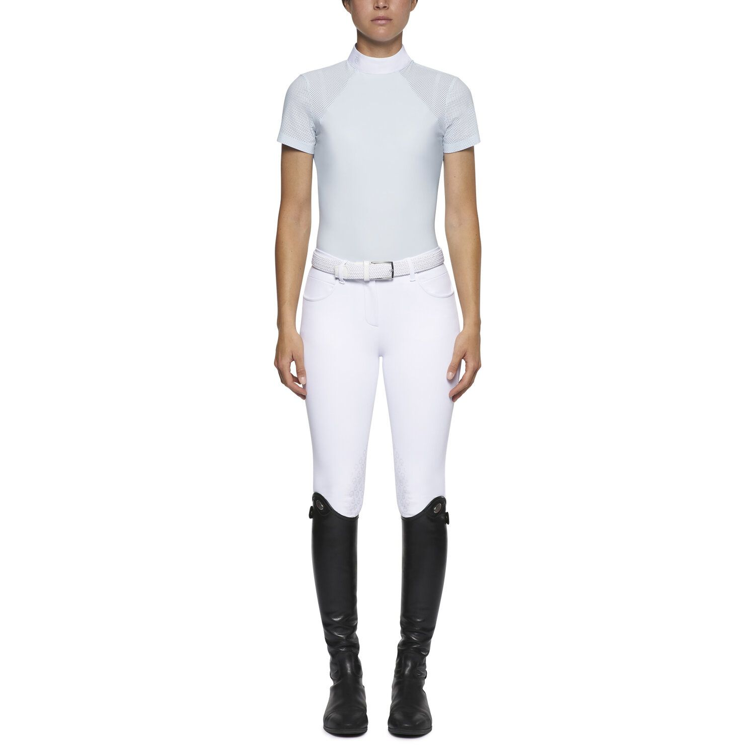 Women's short-sleeved polo with perforated shoulders