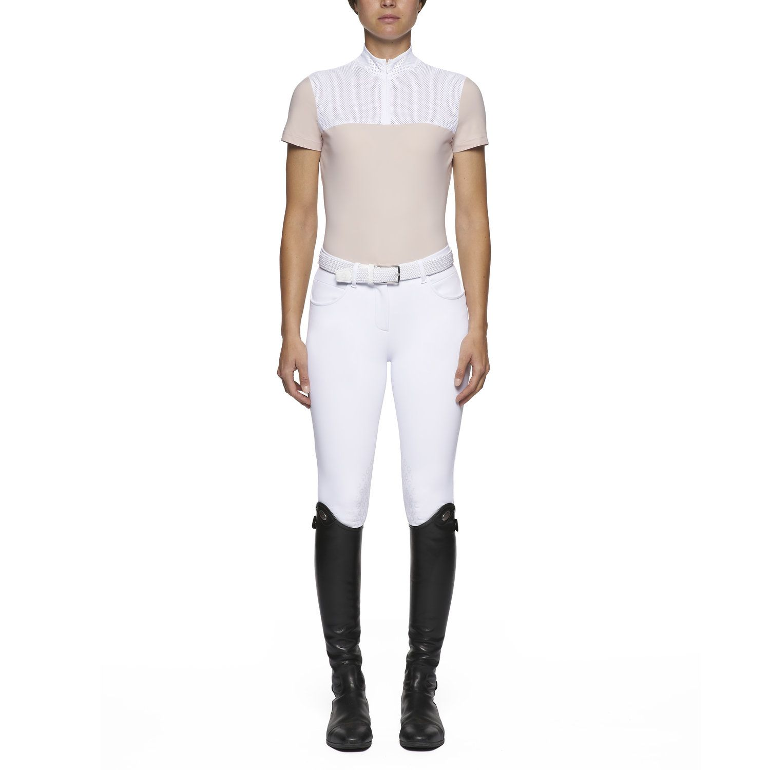 Women's short-sleeved polo with perforated bib