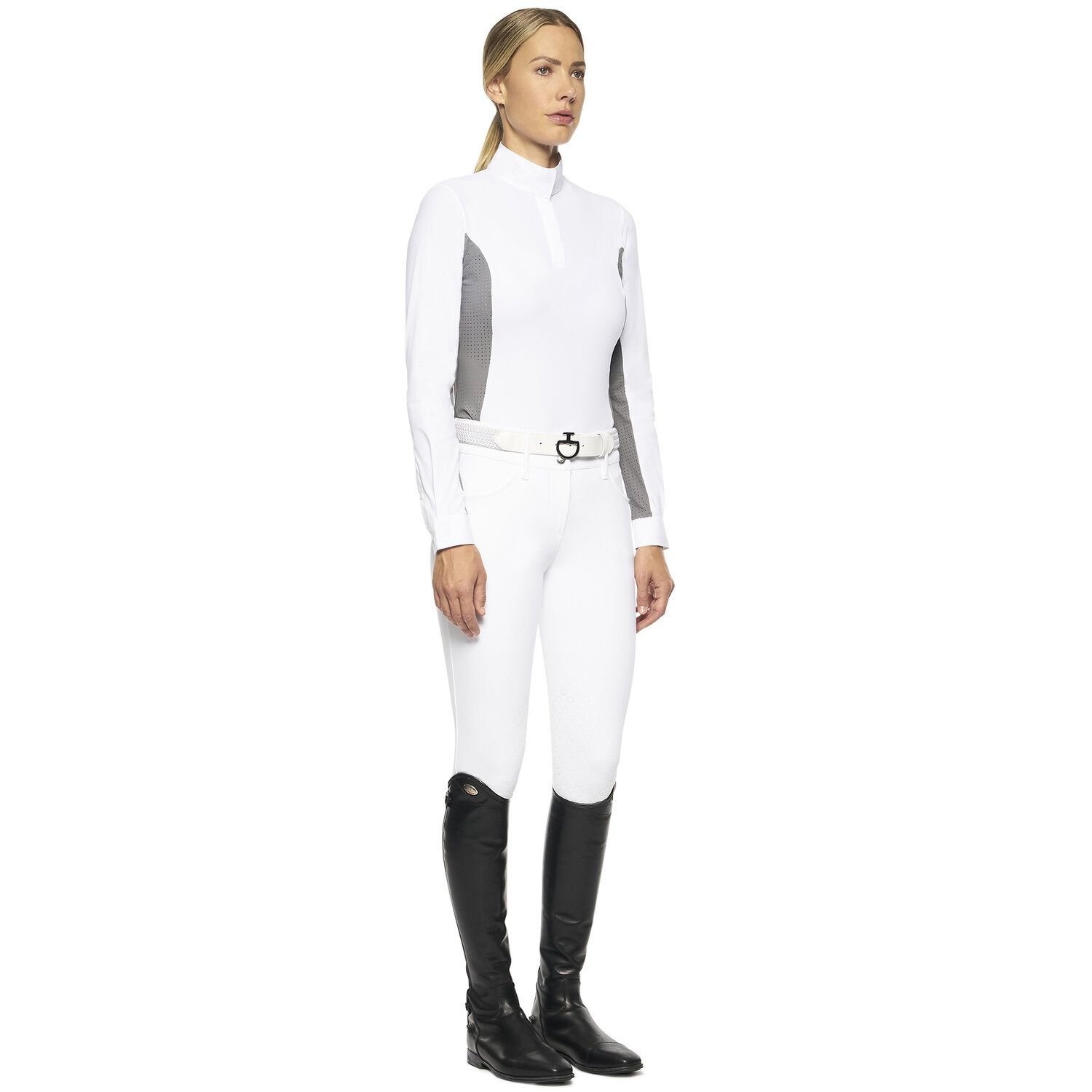 Women's hunter polo with insert