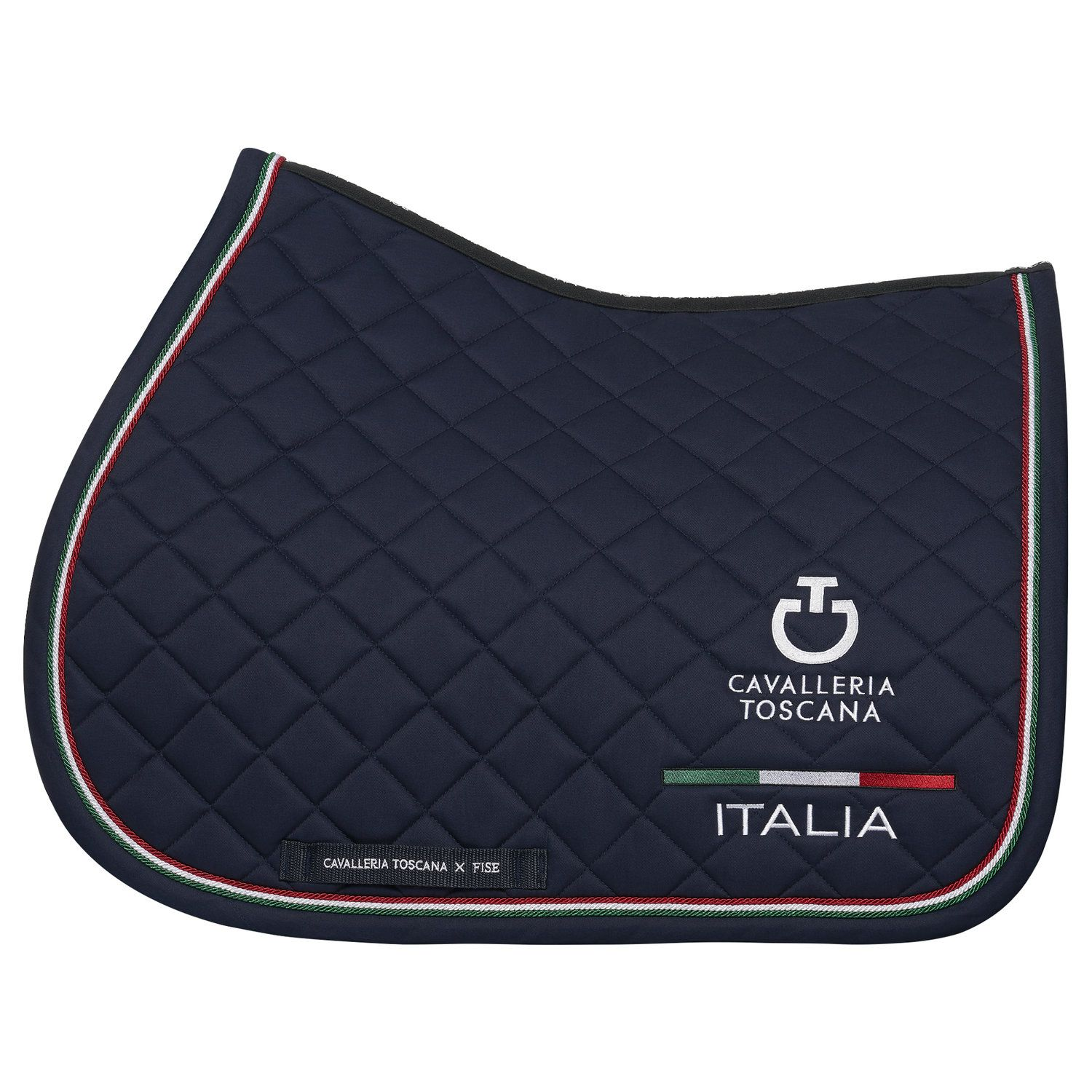 FISE jumping saddle pad with Italian flag piping