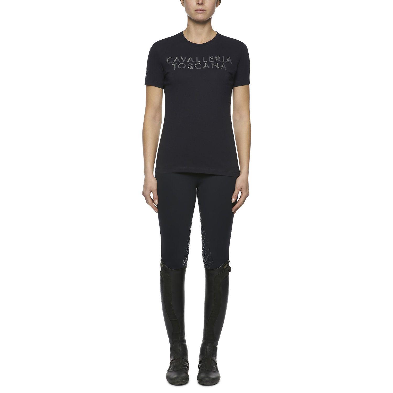 T-shirt donna con logo in rilievo